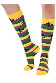 Mardi Gras Striped Knee Socks w/ Fleur-De-Lis Design