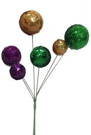 Sequin Wrapped Purple Green and Gold Balls Spray
