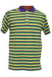 Mardi Gras Style T-Shirt W/Short Sleeve/ Collar Large Size