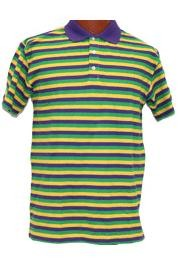Mardi Gras Style T-Shirt W/Short Sleeve/ Collar X-Large Size