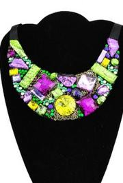 Ribbon Necklace DIY KIT Purple/ Green/ Gold Acrylic Pieces