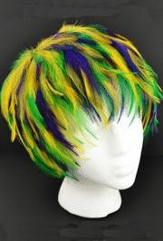 Hackle Feather Wig Purle/ Green/ Gold