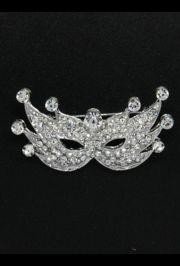 2in Wide x 1 1/2in Tall Silver Metal Rhinestone Mask Brooch/ Pin