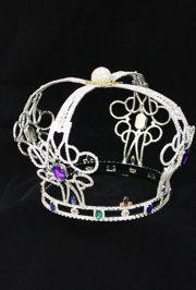 11in Wide x 8in Tall Silver Rhinestone Party Crown