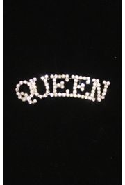3in Long x 3/4in Tall Rhinestone Queen Brooch/ Pin
