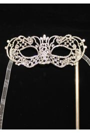 8in Wide x 3in Tall Rhinestone Silver Eye Masquerade Mask on a Stick