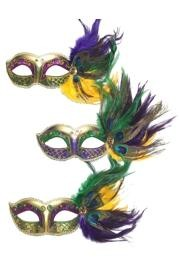 6in Wide x 3in Tall Mardi Gras Mask w/ Feathers On The Side