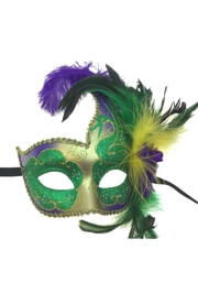 18in Tall x 6 1/3in Wide Venetian Feather Styled Purple/ Green/ Gold Mask w/ Feather Flower On The Side