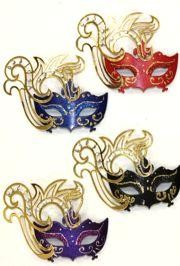 3 1/2in Wide x 2 1/2in Tall Assorted Colors Mini Laser Cut Venetian Mask w/ Magnet
