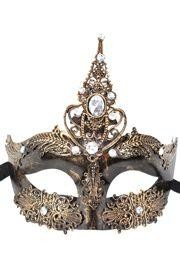 Venetian Masquerade Mask with Metal Laser Cut Decoration and with Rhinestones
