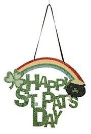 9in Tall x 10 1/2in Wide Cardboard St Patricks Day Glitter Door Hanger