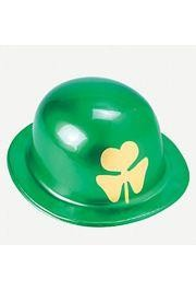 10in Tall x 9in Wide Plastic Metallic Derby Hat With Gold Shamrock Print