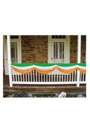 10in Wide x 5Ft Long Irish Fabric Bunting Green/ White/ Orange
