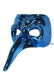 Blue Long Nose Plastic Masquerade Mask