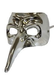Silver Long Nose Plastic Masquerade Mask