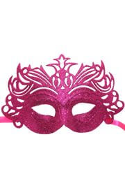 Glittered Plastic Hot Pink Face Masquerade Mask