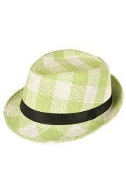 11in Long x 9in Wide Green and White Fedora Hat