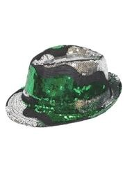 11in Long x 9in Wide Irish Tri Color Sequin Fedora Hat
