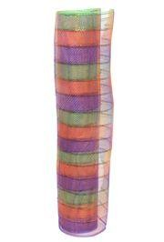 21in x 30ft Plaid Metallic Purple/ Orange/ Green Mesh Ribbon/ Netting