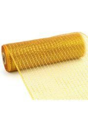 10in Wide x 30ft Long Poly Mesh Roll: Metallic Brown/ Gold