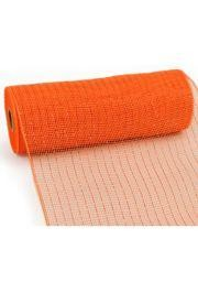 10in Wide x 30ft Long Poly Mesh Roll: Orange W/ Orange Foil