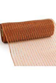10in Wide x 30ft Long Poly Mesh Roll: Metallic Brown/ Copper Foil
