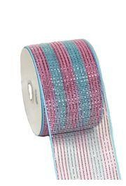 4in Wide x 75ft Long Poly Mesh Roll: Metallic Baby Blue/ Baby Pink