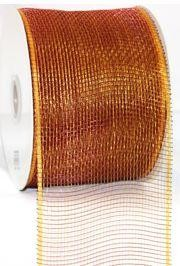 4in Wide x 75ft Long Poly Mesh Roll: Plain Burgundy/ Gold