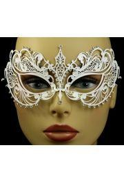 Venetian Metal Iridescent White Laser-Cut Masquerade Mask with Rhinestones