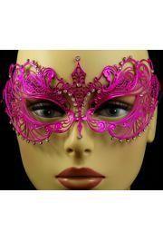 Venetian Metal Hot Pink Laser-Cut Masquerade Mask with Rhinestones