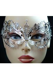 Venetian Metal Silver Laser-Cut Masquerade Mask with Rhinestones