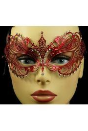Venetian Metal Red Laser-Cut Masquerade Mask with Rhinestones
