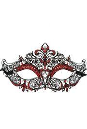 Venetian Metal Laser-Cut Black Masquerade Mask with Red Rhinestones