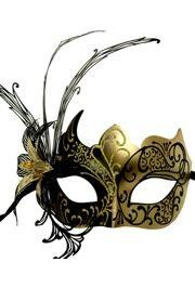 Black and Gold Venetian Masquerade Mask with Black Metal Laser Cut