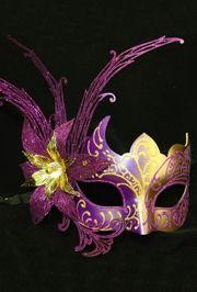 10in Wide x 6in Tall Purple/ Gold Venetian Hand Painted Papier Mache Mask w/ White Metal Laser Cut