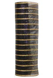 21in x 30ft Deluxe Metallic Black/ Thin Laser Gold Stripes Mesh Ribbon/ Netting