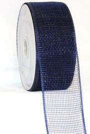 2 1/2in Wide x 75ft Long Mesh Ribbon Roll Plain Navy Blue