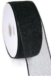 Mesh Ribbon Roll Plain Black