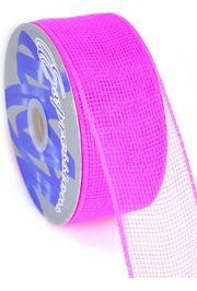 Mesh Ribbon Roll Plain Hot Pink