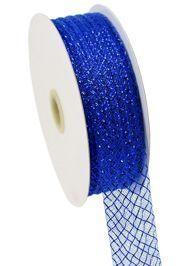 1.5in x 90ft Deco Flex Mesh Ribbon: Royal Blue w/ Royal Foil