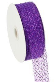 1.5in x 90ft Deco Flex Mesh Ribbon: Purple w/ Laser Purple Foil