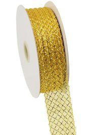 1.5in x 90ft Deco Flex Mesh Ribbon: Gold w/ Laser Gold Foil