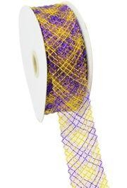1.5in x 90ft Deco Flex Mesh Ribbon: Purple/ Yellow Plaid