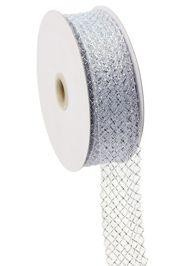 1.5in x 90ft Deco Flex Mesh Ribbon: White w/ Laser Silver Foil