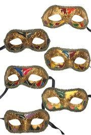 Assorted Colors Venetian Masquerade Masks with Black and Gold Trim Around