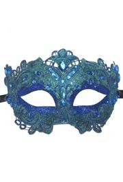 Blue Venetian Macrame Masquerade Mask with Glitter Accents and with Rhinestones