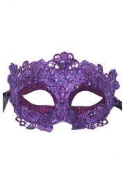 Purple Venetian Macrame Masquerade Mask with Glitter Accents and with Rhinestones