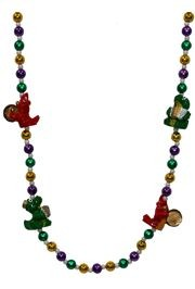 Alligator and Crawfish Mardi Gras Bead