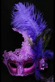 7in Wide x 14in Tall Venetian Macrame Purple Mask w/ Rhinestones And w/ Feathers On The Side