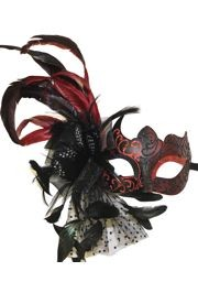Black Venetian Masquerade Mask with Red accents and with Feather